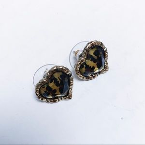 Betsey Johnson - Heart Cheetah Earrings
